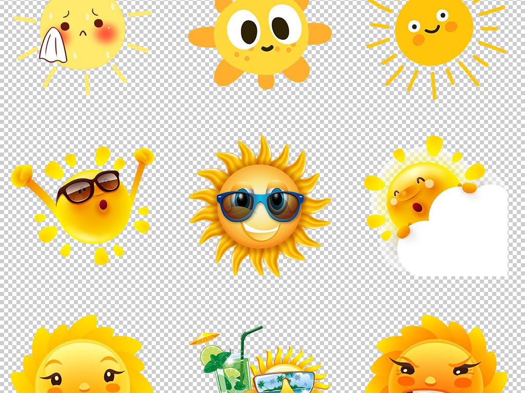创意卡通手绘线条可爱太阳表情笑脸png素材