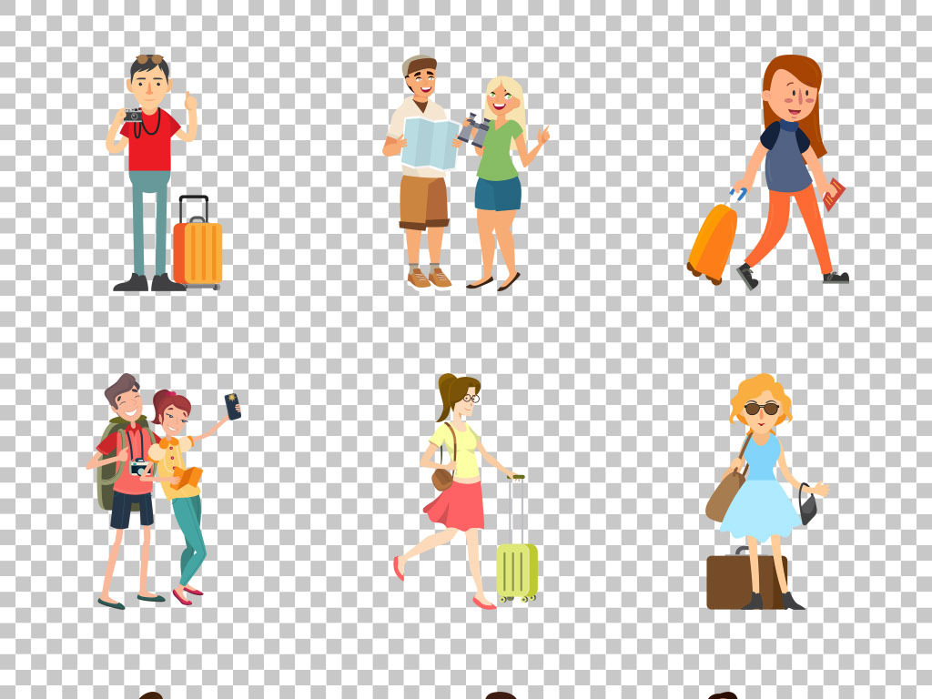 创意平面手绘卡通旅游旅行免抠png素材