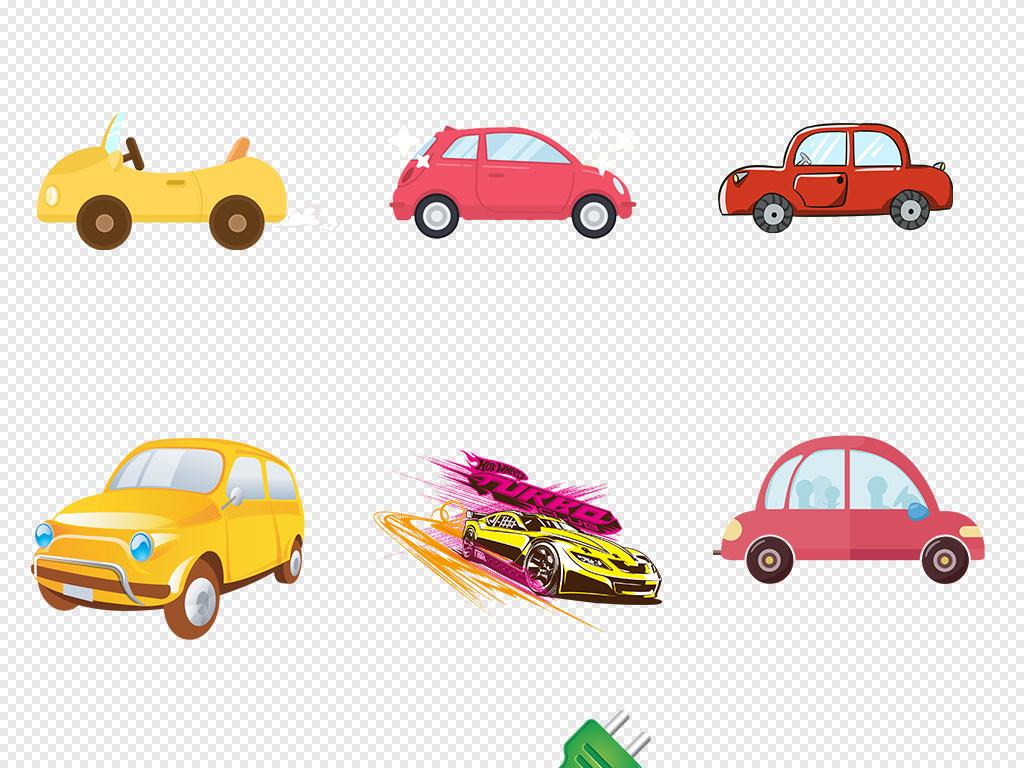 可爱卡通汽车素描驾车旅游海报素材背景png