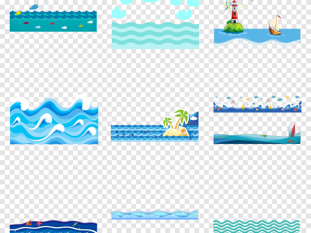 免抠元素 花纹边框 卡通手绘边框 > 卡通海洋海浪浪花海水水花背景