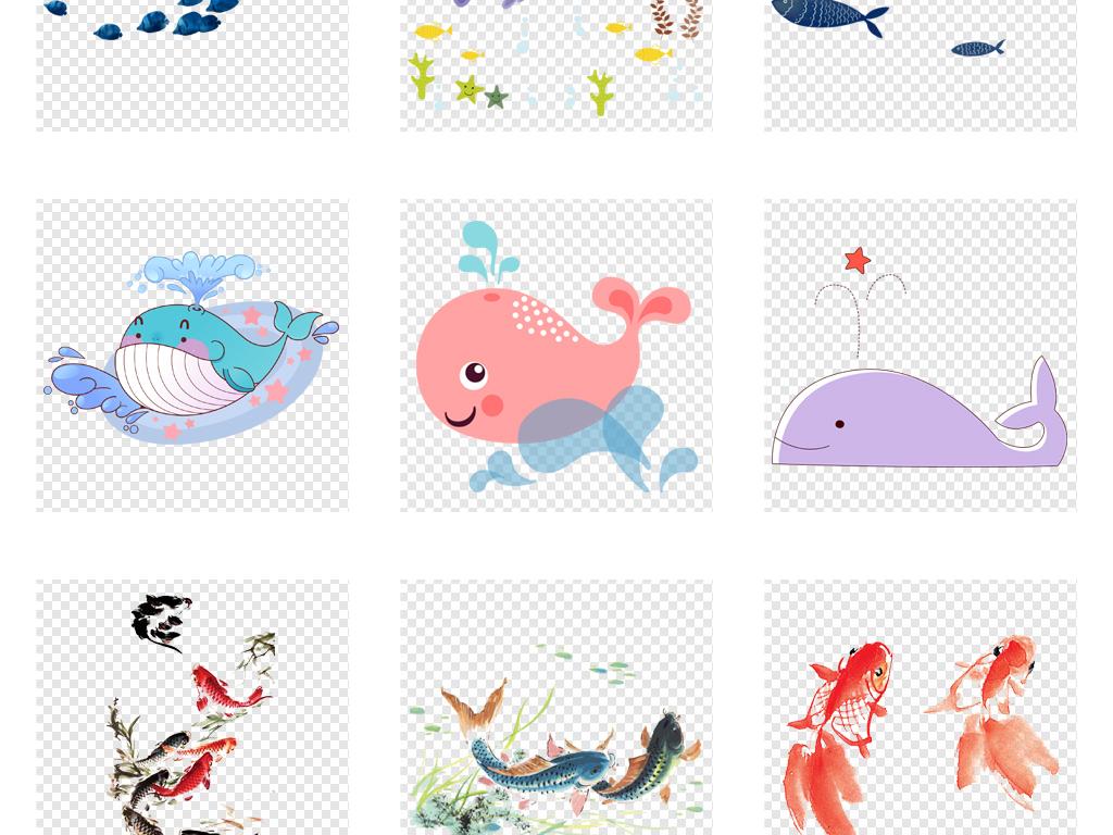 手绘鲸鱼彩色简笔画