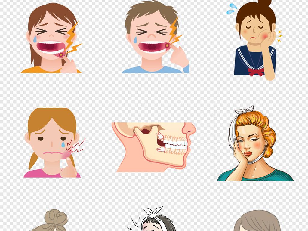 医疗可爱卡通牙疼病人图片_装饰图案_设计元素-图行天下素材网