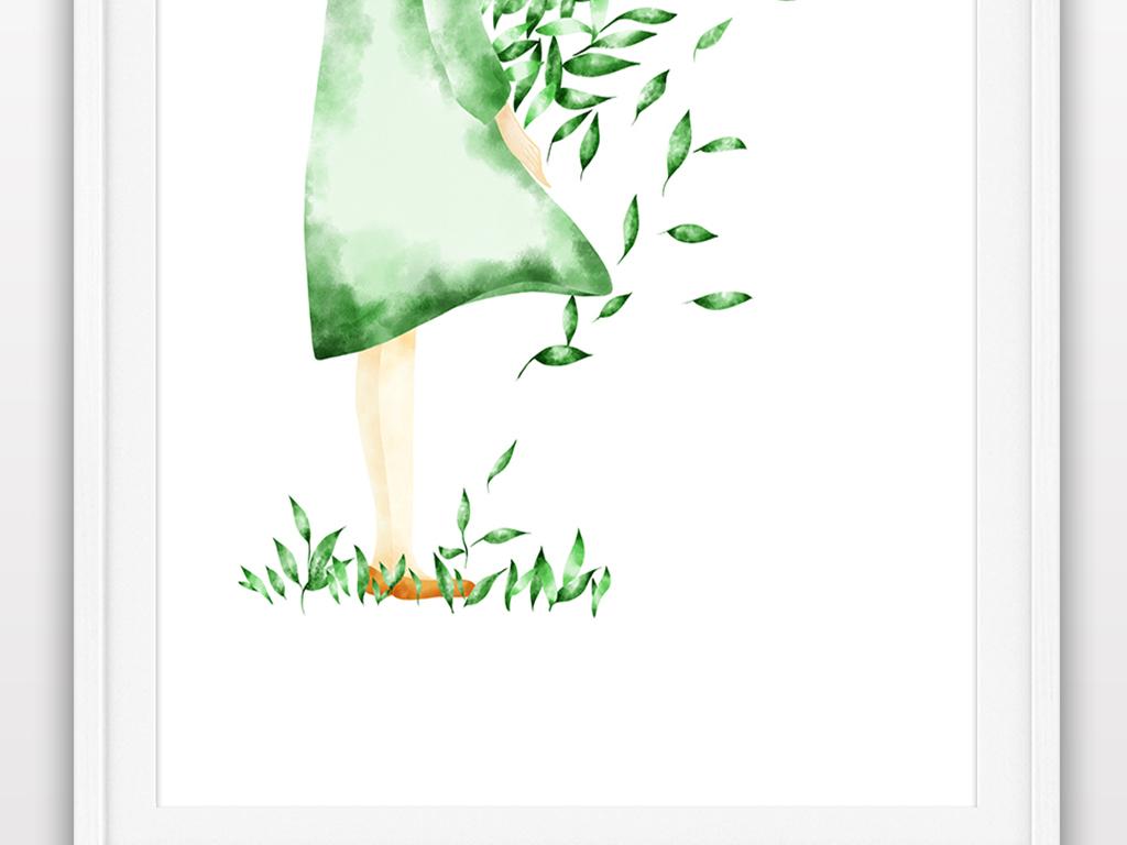 立秋唯美小清新手绘插画海报装饰画图片设计素材_高清