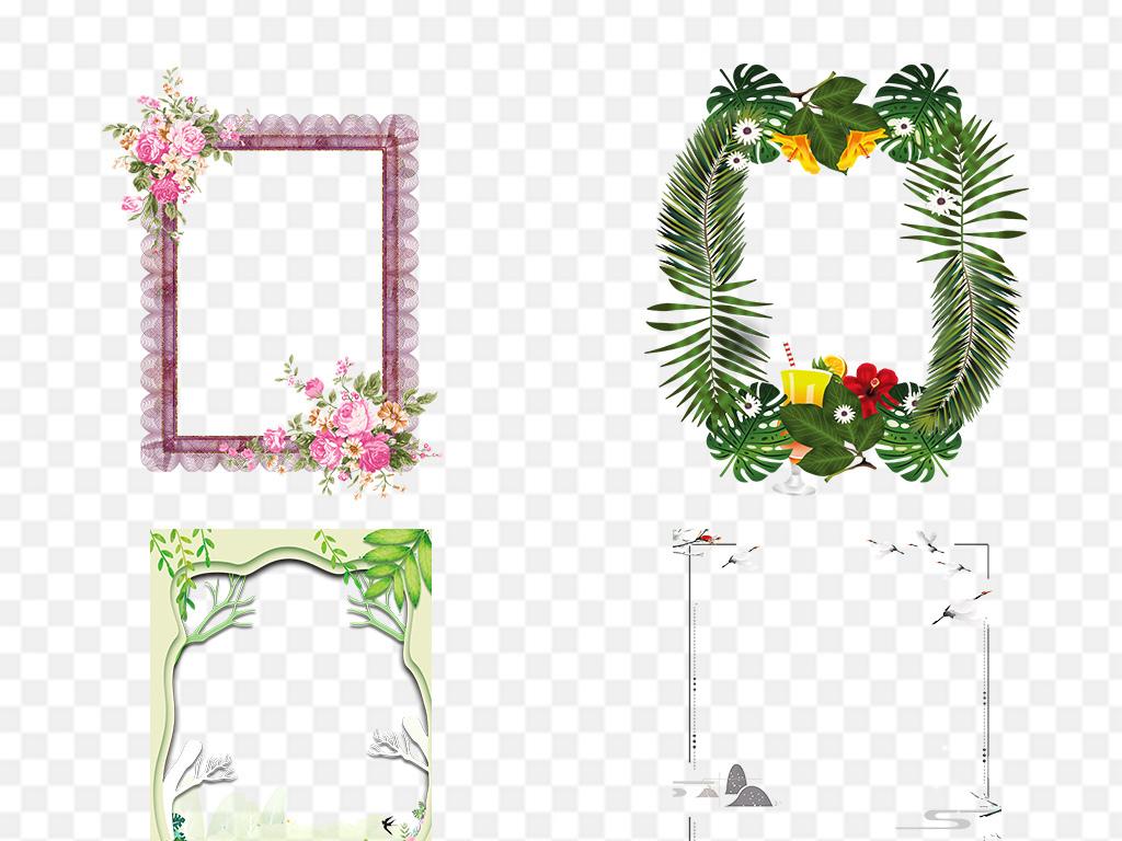 森系热带树叶植物叶子绿色热带手绘树叶热带叶子边框花边边框素材边框