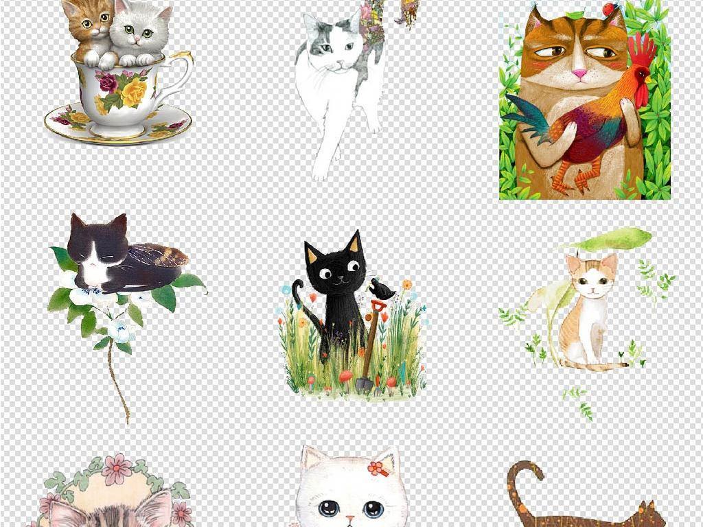 手绘猫可爱小猫咪海报素材背景图片png