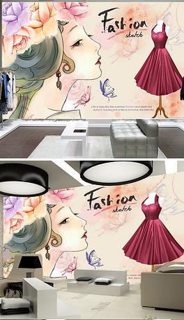 高清手绘化妆品服装店工装背景墙ins风-PSD高清手绘美女 PSD格式高