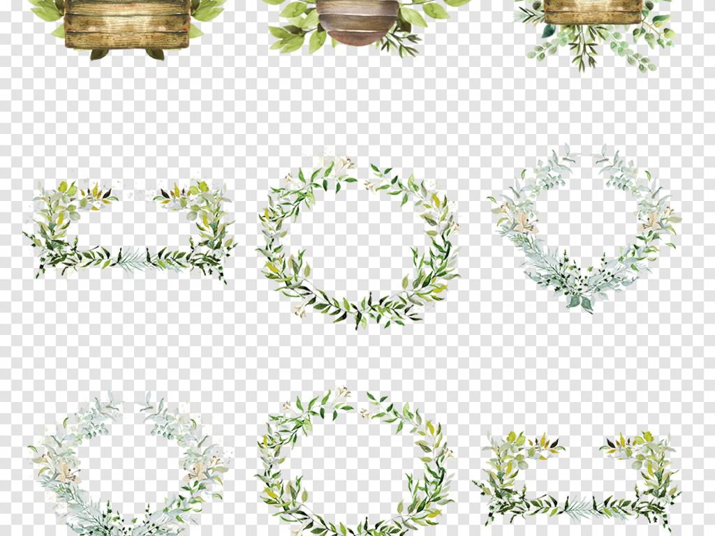 卡通水彩手绘小清新花草树叶花环标题栏文本边框png