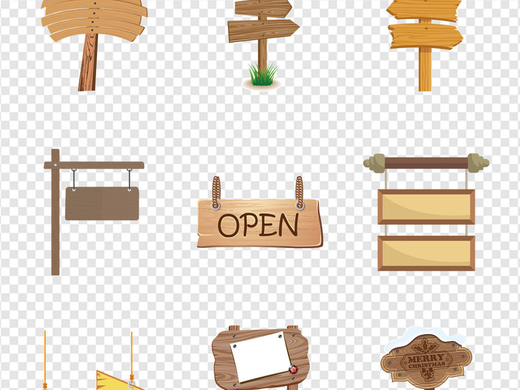 手绘模板木板地板实木木牌字告示栏小草方向牌指示吊牌木质路牌告示牌
