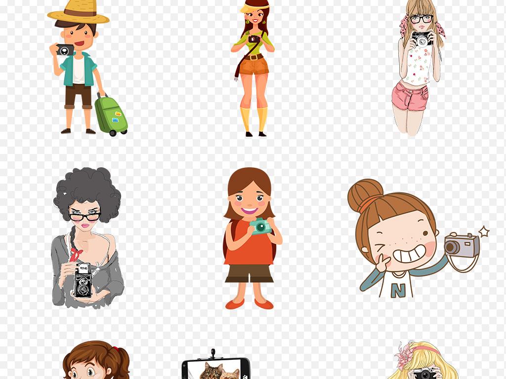 手绘卡通旅游旅行暑假景点拍照海报素材背景图片png
