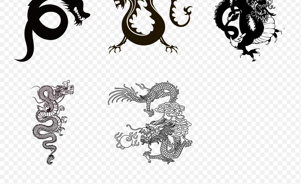 中国风古典龙纹龙图腾龙纹身图案png透明背景素材