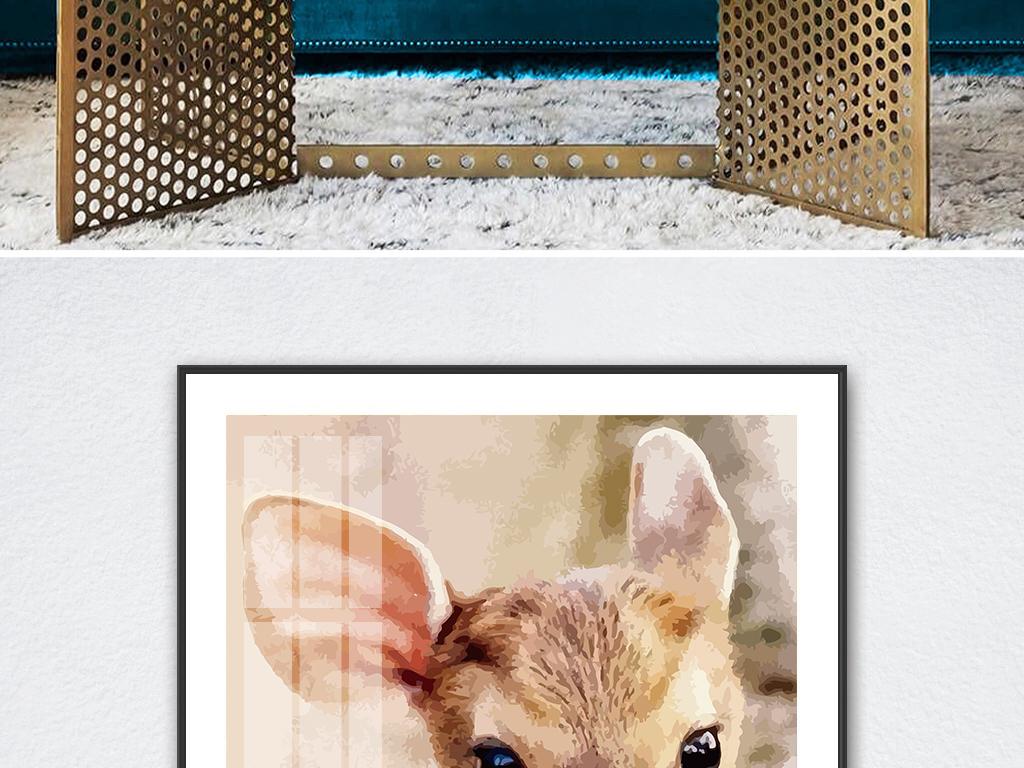 装饰画 北欧装饰画 动物装饰画 > 现代简约油画肌理小鹿麋鹿风景方形