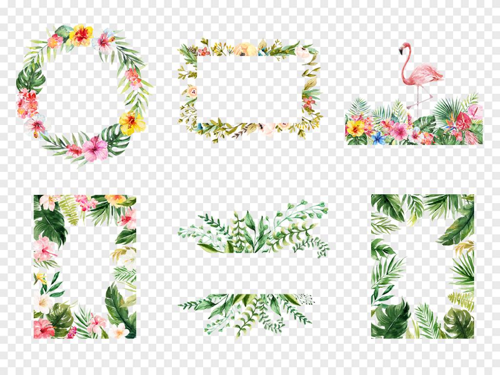 森系热带雨林水彩手绘火烈鸟树叶绿植插画设计素材