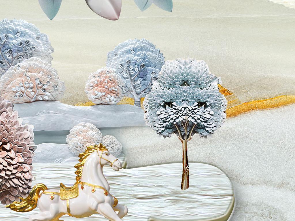 欧式复古抽象发财树骏马风景客厅装饰画