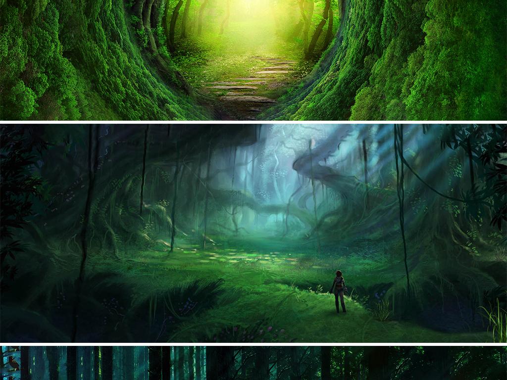 卡通手绘绿色梦幻森林大自然海报banner背景