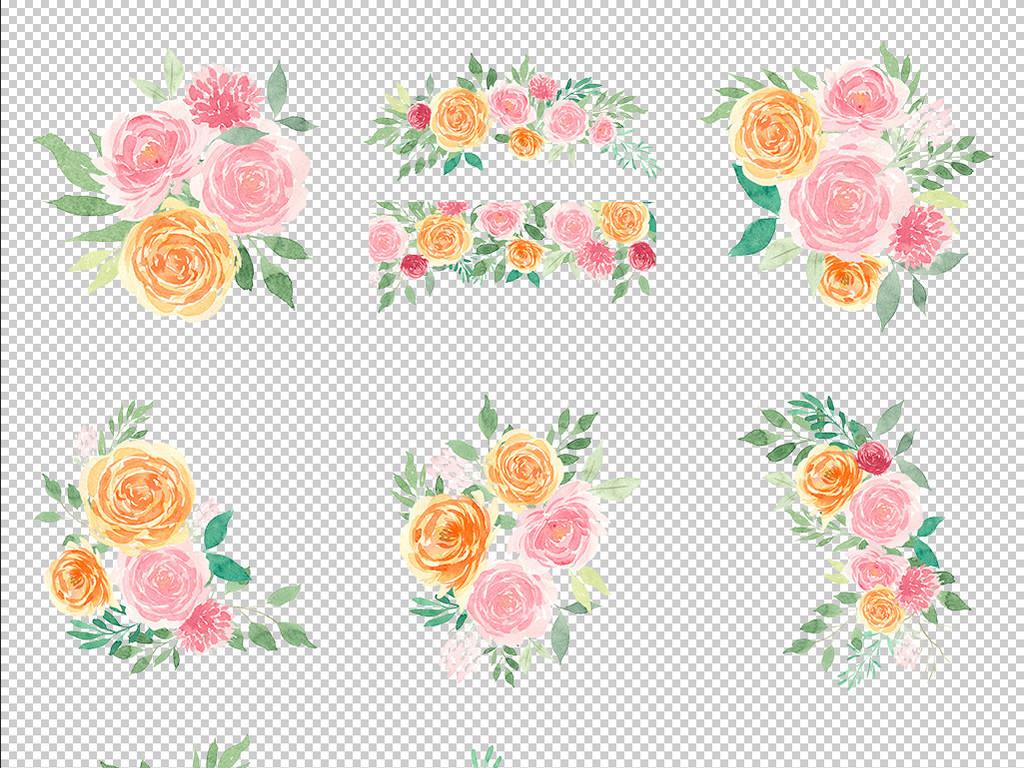 原创唯美手绘花朵花卉婚礼请柬卡片手账剪贴画png免抠元素设计素材