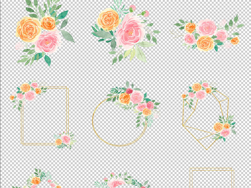 花环婚礼花卉素材手绘花卉花朵免抠卡片手绘花朵婚礼素材剪贴画唯美