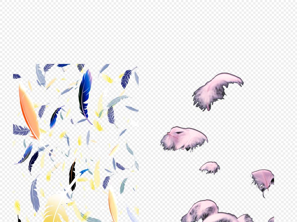 手绘背景手绘图片飘落羽毛彩色