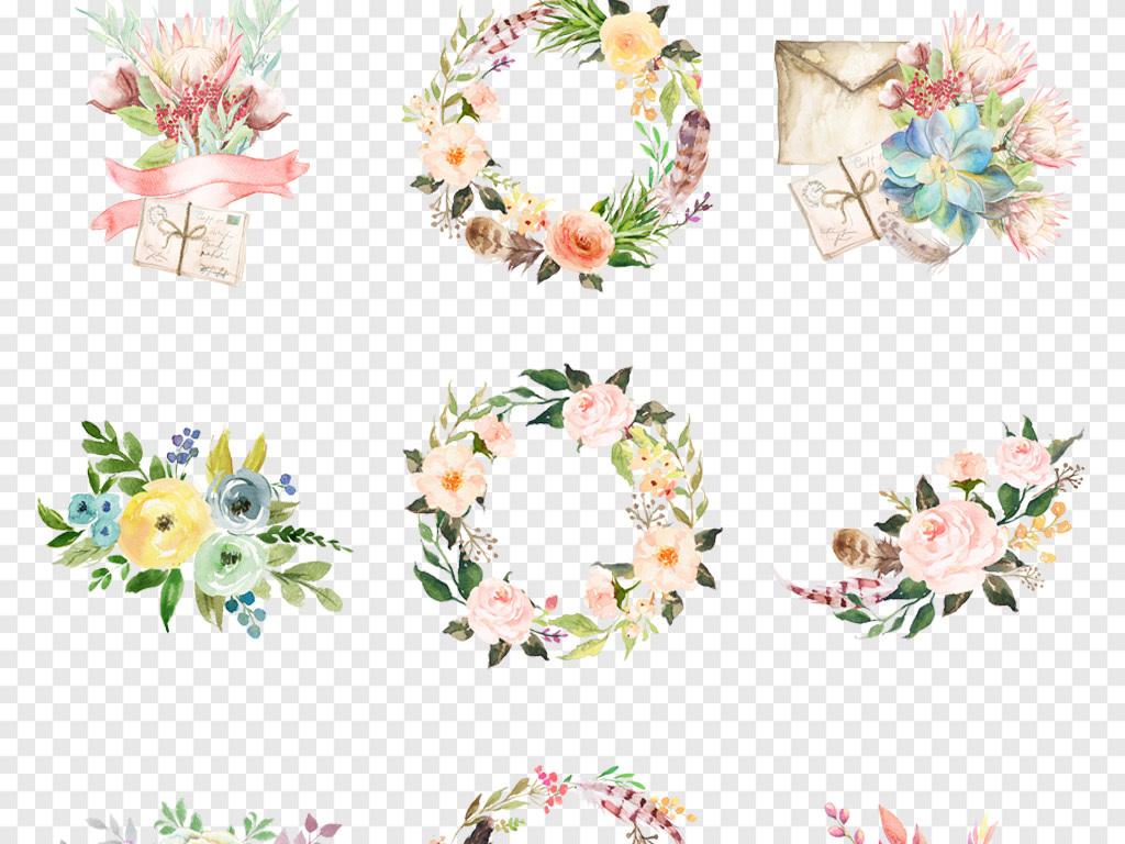 卡通水彩手绘小清新绿色植物花卉花朵png免抠素材