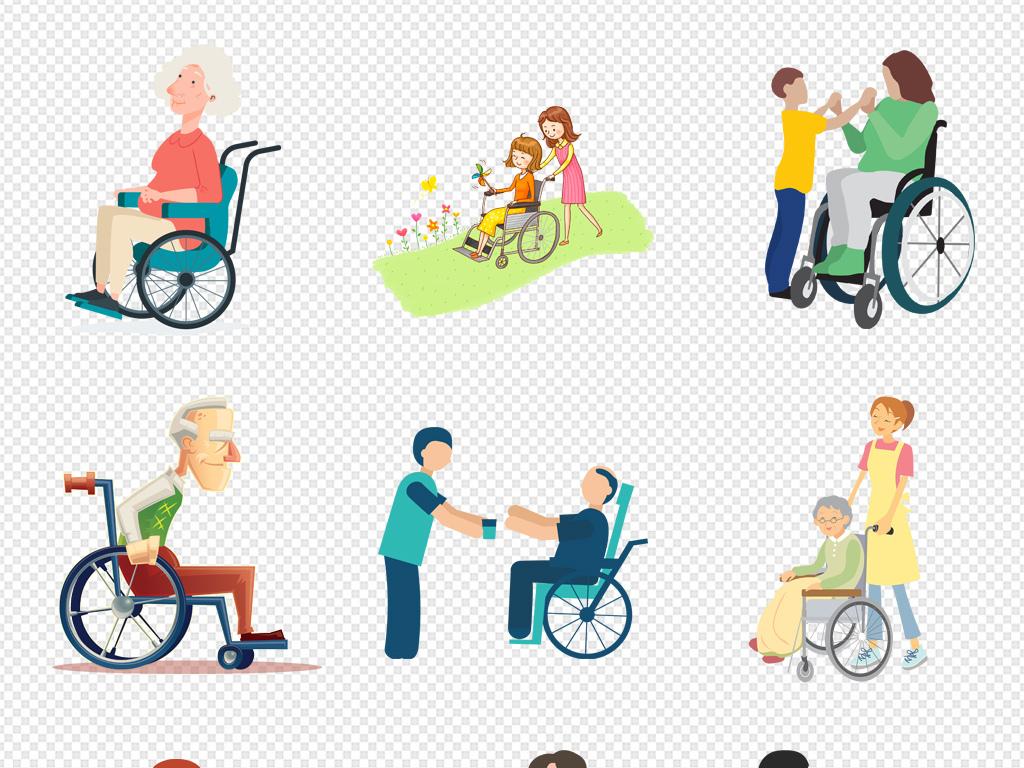 医疗器械轮椅素材可爱卡通素材轮椅海报素材坐轮椅淘宝