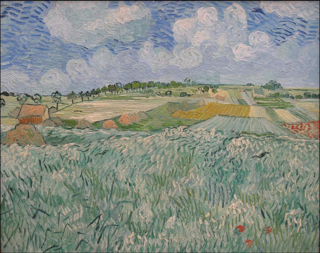 梵高春天的田野风景油画博物馆世界名画欧式装饰画背景