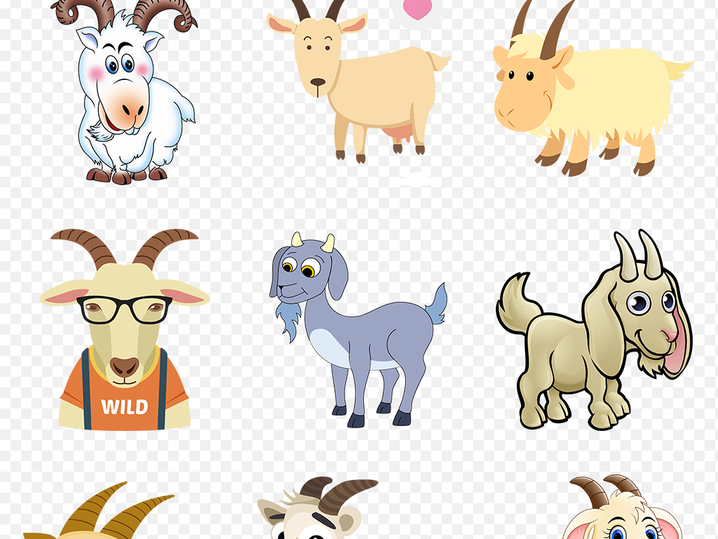 卡通可爱小羊绵羊山羊海报素材背景图片png