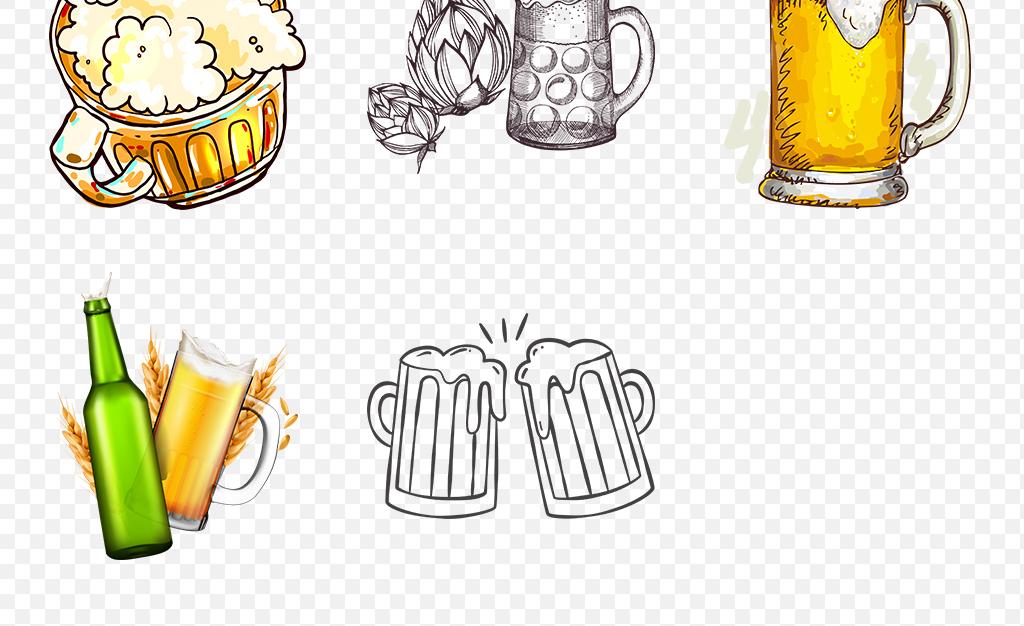 卡通手绘畅啤酒饮啤酒节海报素材背景图片png