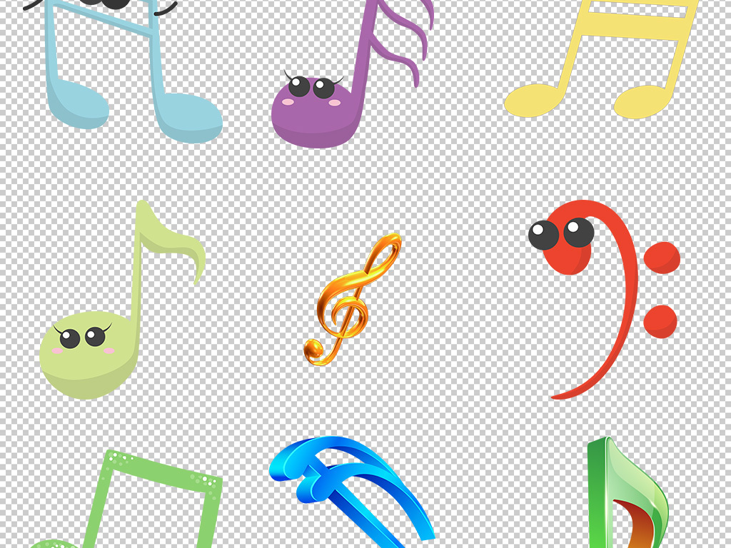 钢琴音符音符符号手绘音符彩色音符
