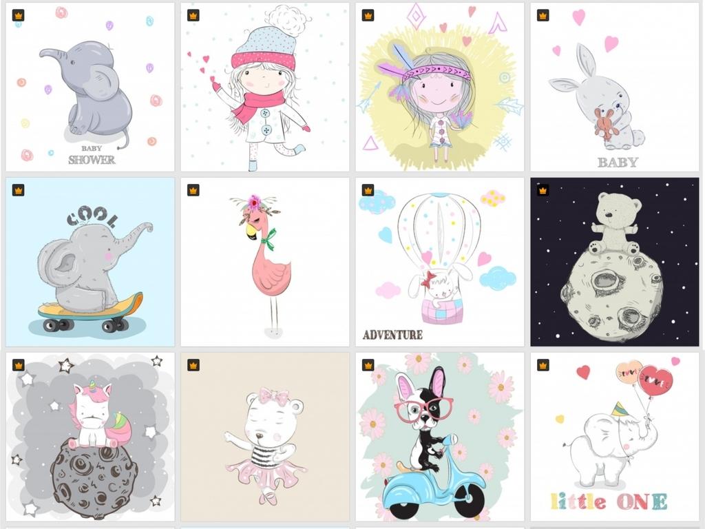 小孩孩子动物图案小动物可爱萌卖萌卡通