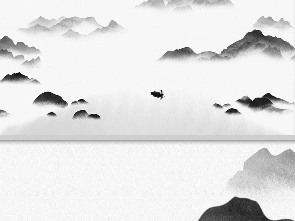 背景墙 山水风景画 水墨画 > 新中式意境抽象黑白水墨山水客厅背景墙