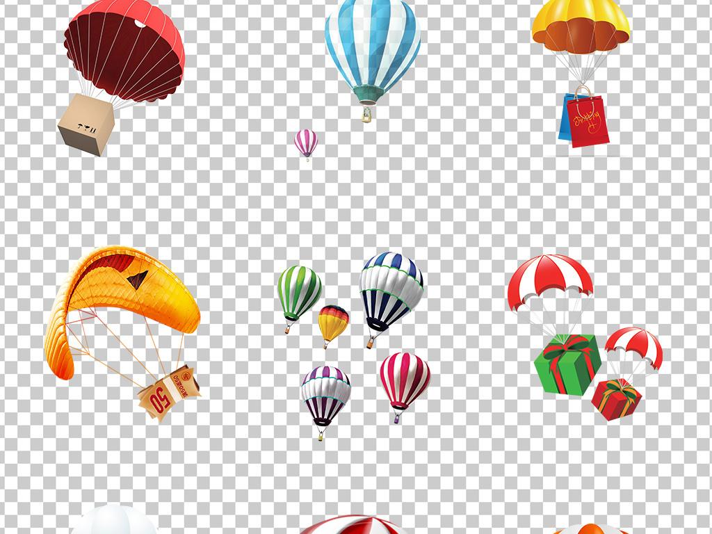 01387降落伞热气球手绘卡通可爱降落伞彩色降落伞素材