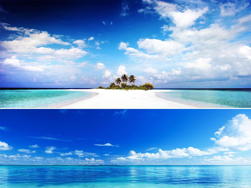 蓝天白云大海沙滩海边海水唯美风景海报背景