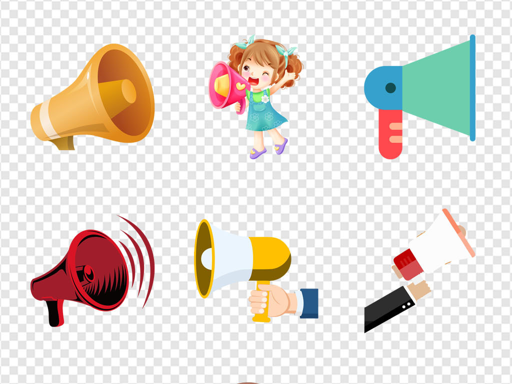 卡通背景宣传大喇叭招聘喇叭卡通手绘卡通小喇叭大喇叭图片3d小人喇叭