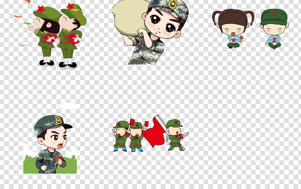 卡通可爱红军军人士兵战士武警阅兵军事人物免扣png