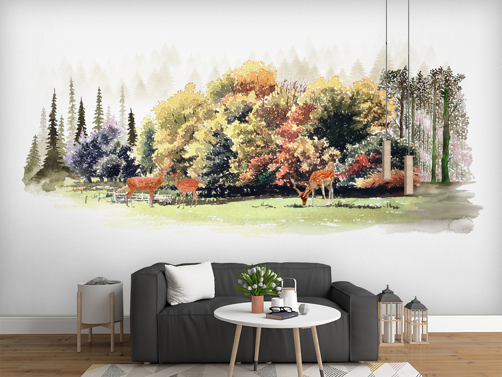 手绘电视背景墙 > 北欧风水彩手绘麋鹿森林儿童房背景墙壁纸壁  素材