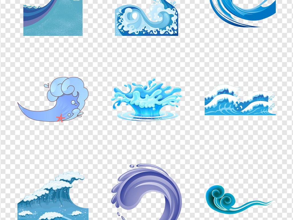 海浪浪花手绘海洋海水水花背景图标png素材