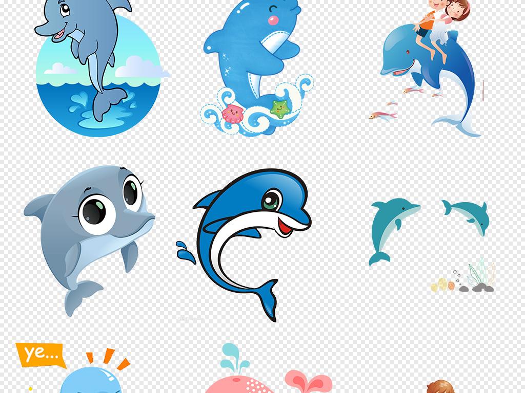 可爱卡通海豚海洋动物png海报背景素材