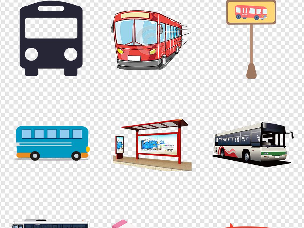 卡通手绘公交车公共汽车大巴车png素材