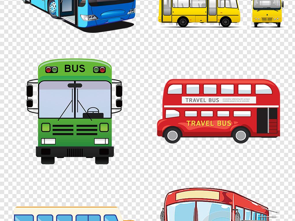 卡通手绘bus公共汽车公交车大巴车标志