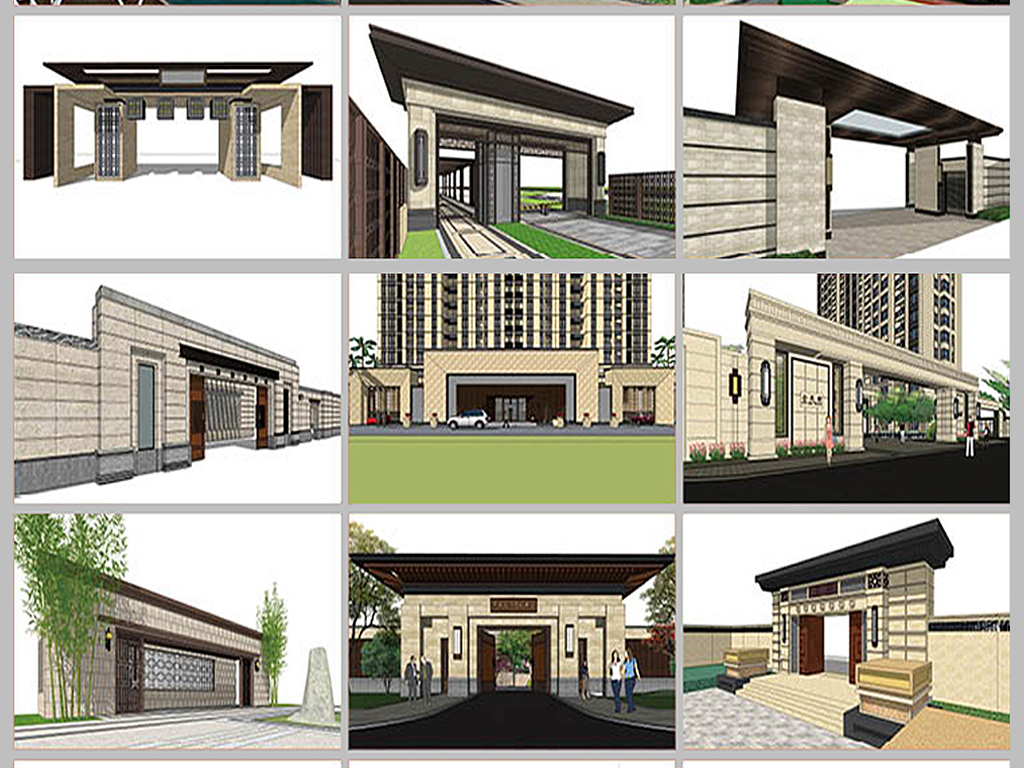 室内景观园林庭院公园广场城市规划草图大师作业设计skp模型sketchup