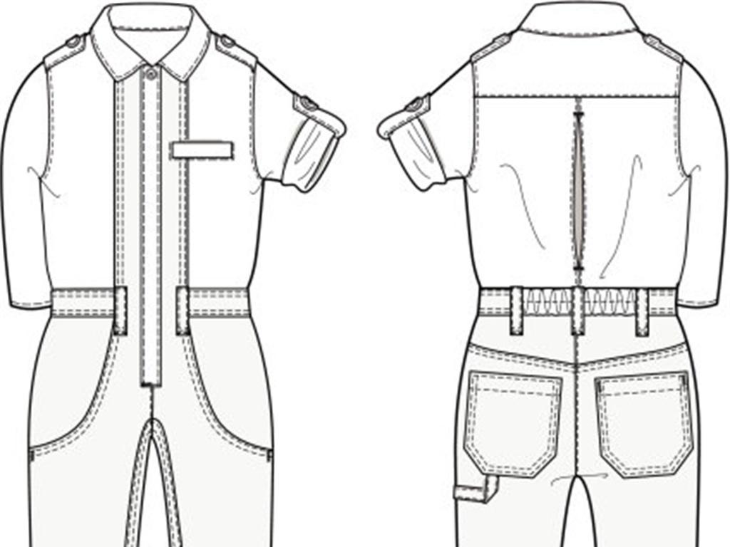 童装工装正反面连体服款式图模板ai矢量图
