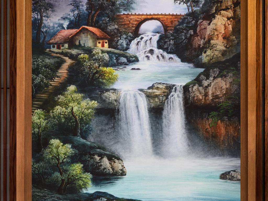 新中式独居山水风景油画玄关