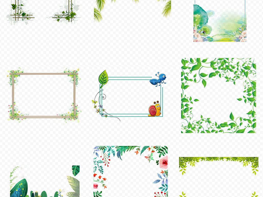 手绘小清新森系热带树叶植物叶子绿色热带手绘树叶热带叶子边框花边边