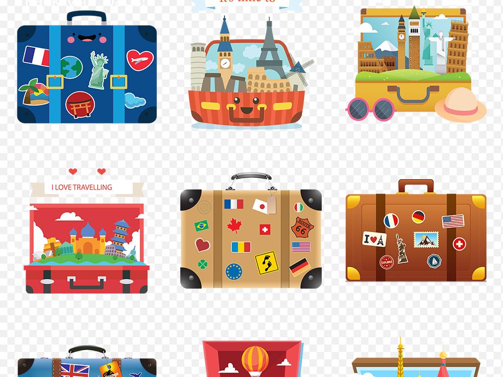 卡通手绘旅行箱旅游度假行李箱海报素材背景图片png