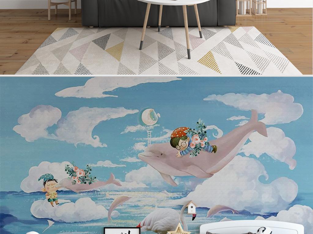 可爱手绘白云海洋海豚儿童房背景墙