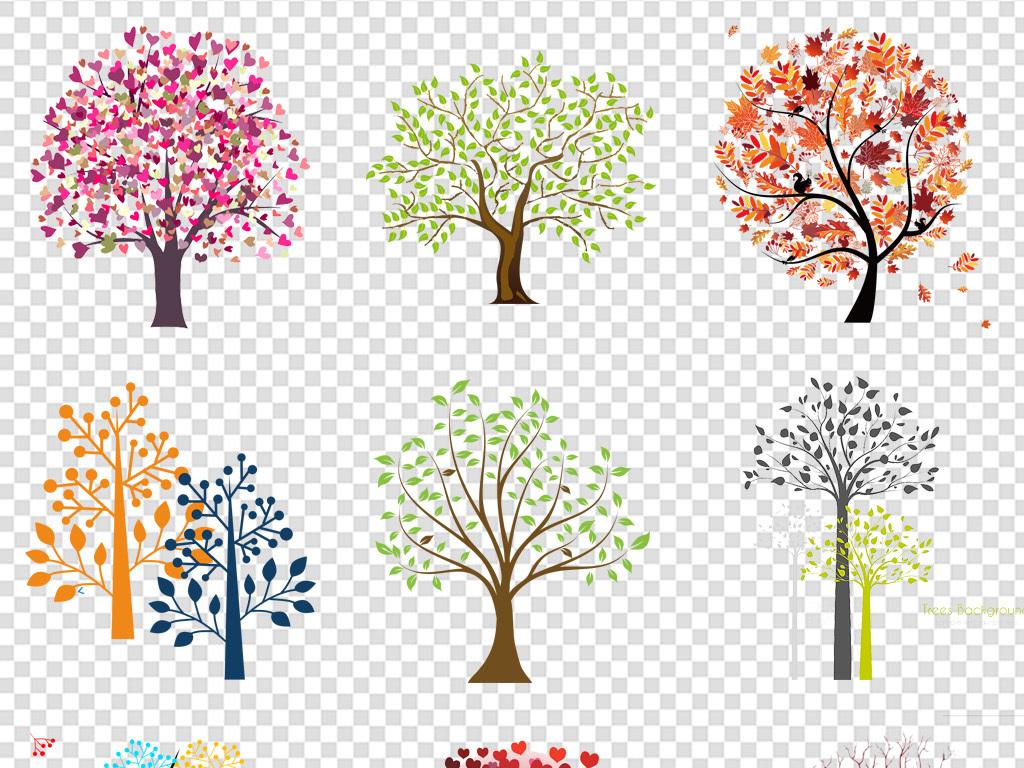 小树中国风树植物彩色创意创意素材商务素材抽象卡通背景抽象树抽象背图片