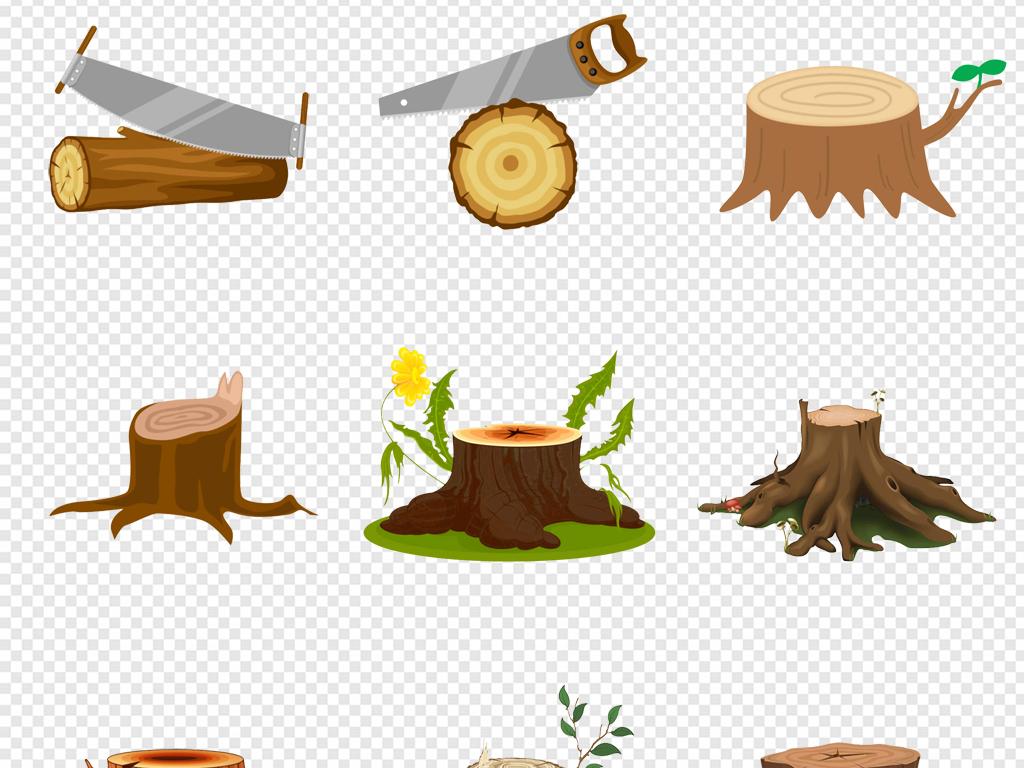卡通手绘树桩木墩树墩木纹木桩年轮png