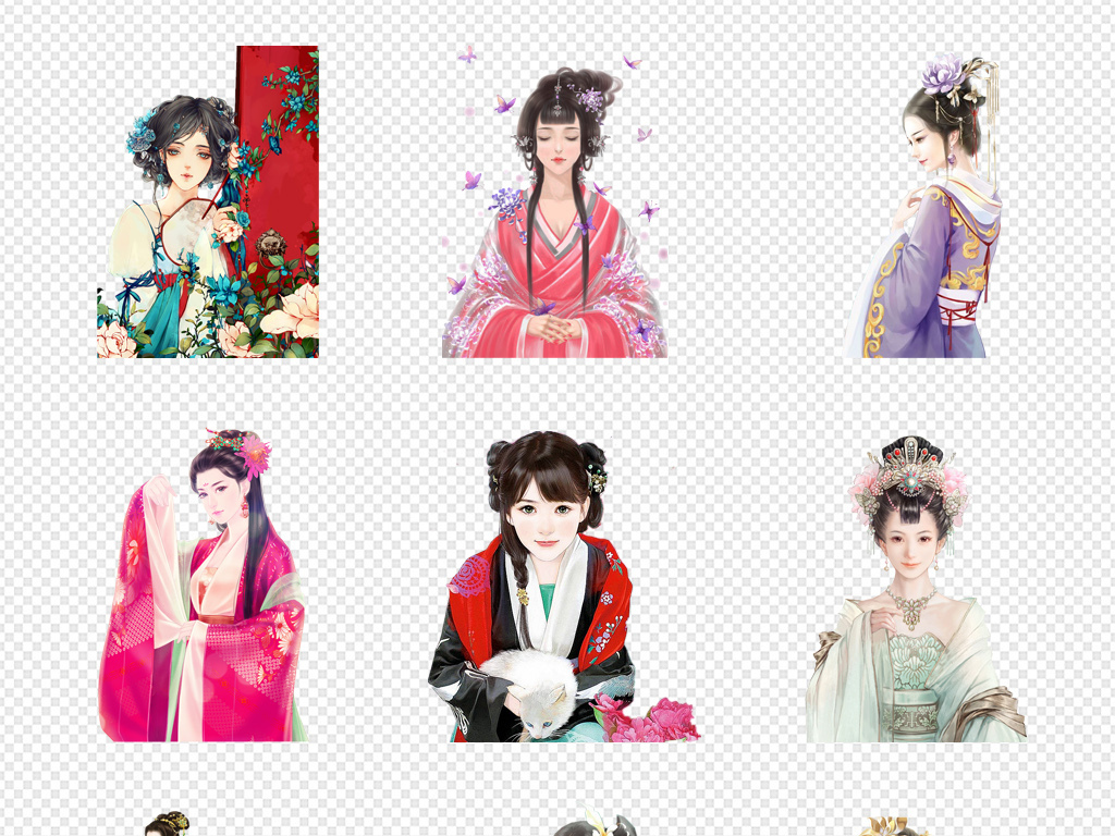 皇帝妃子手绘彩绘女女生中国古风人物美女中国素材古典美女古代人物