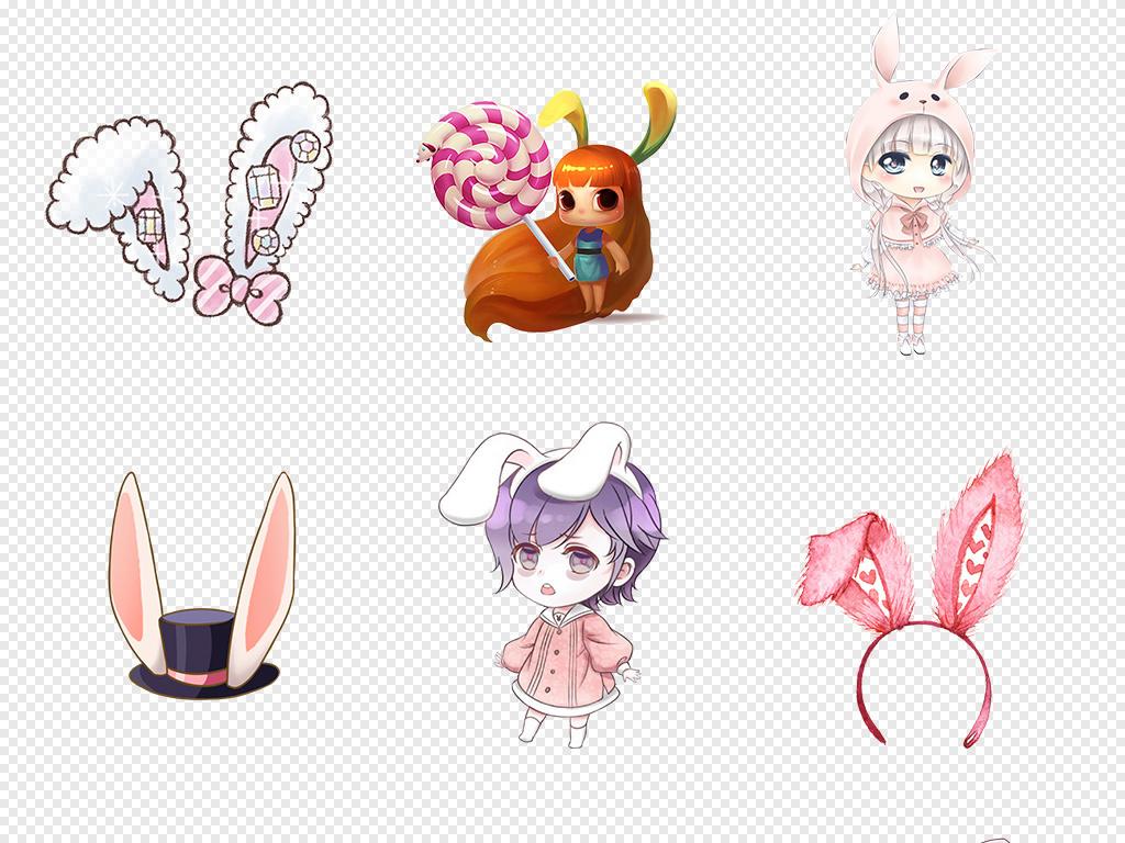 卡通可爱兔子耳朵猫动物海报素材背景图片png