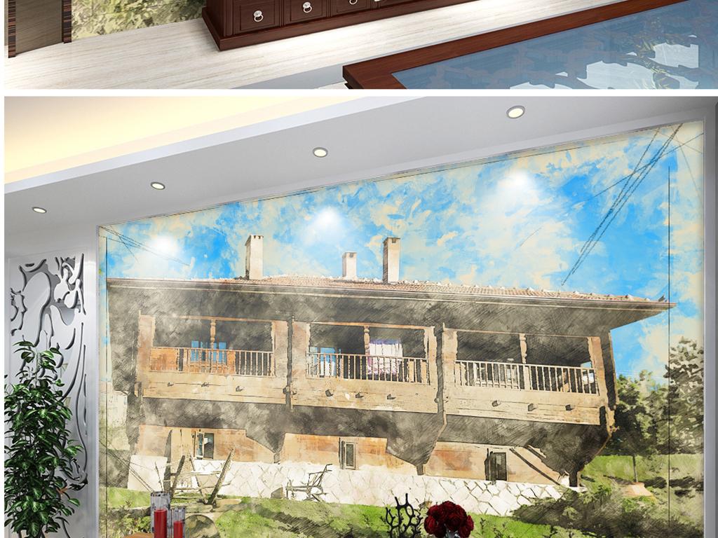 背景墙 电视背景墙 电视背景墙 > 手绘越南吊脚楼彩铅  素材图片参数