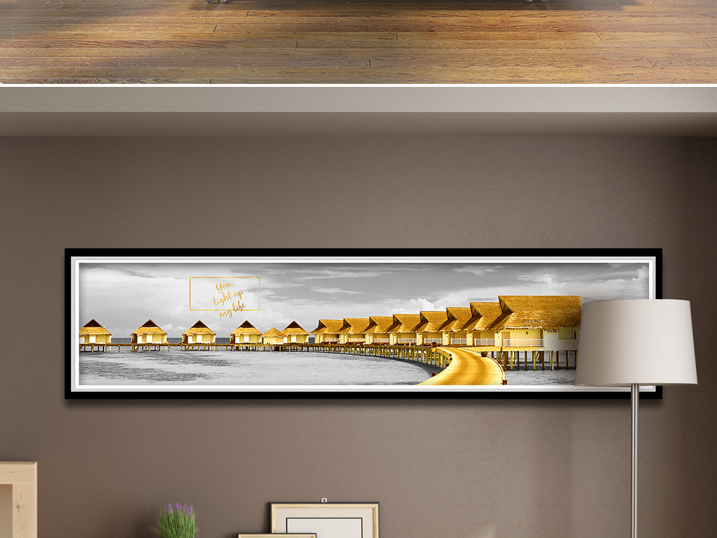 海边风景金色木桥房屋床头装饰画